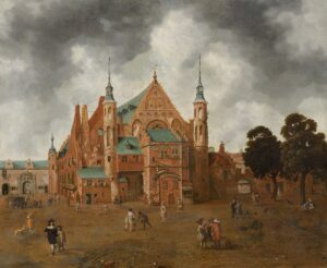 Het Binnenhof met de Ridderzaal, anoniem, ca. 1655 (collectie Haags Historisch Museum).